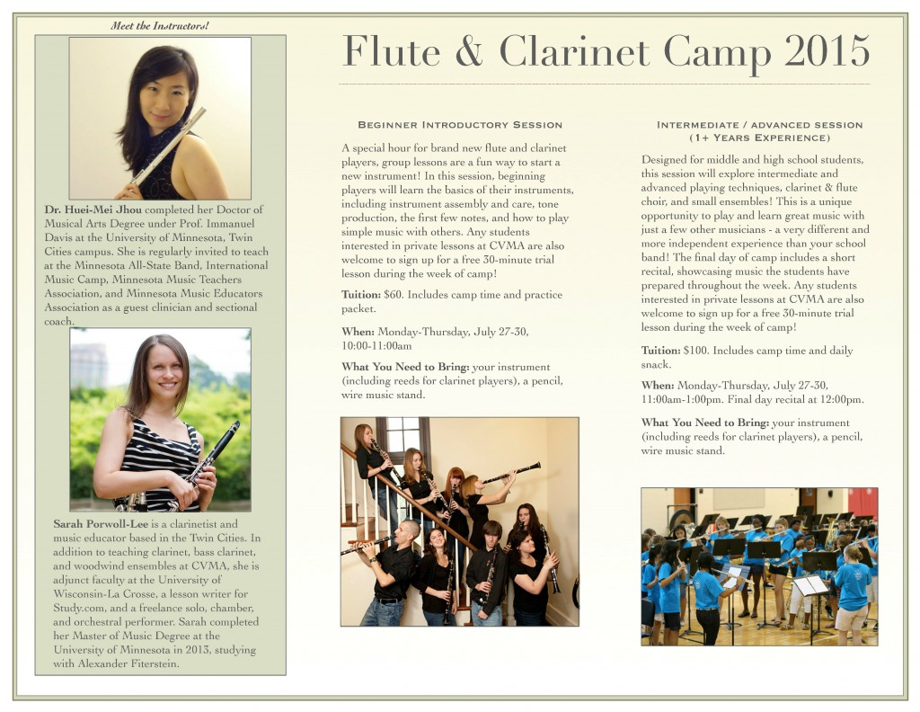 Flute & Clarinet Camp July 2015 Flyer
